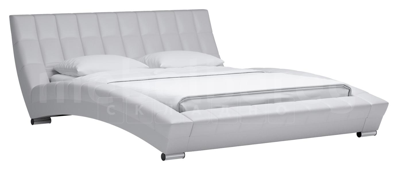Мягкая кровать Оливия 160 см экокожа белый