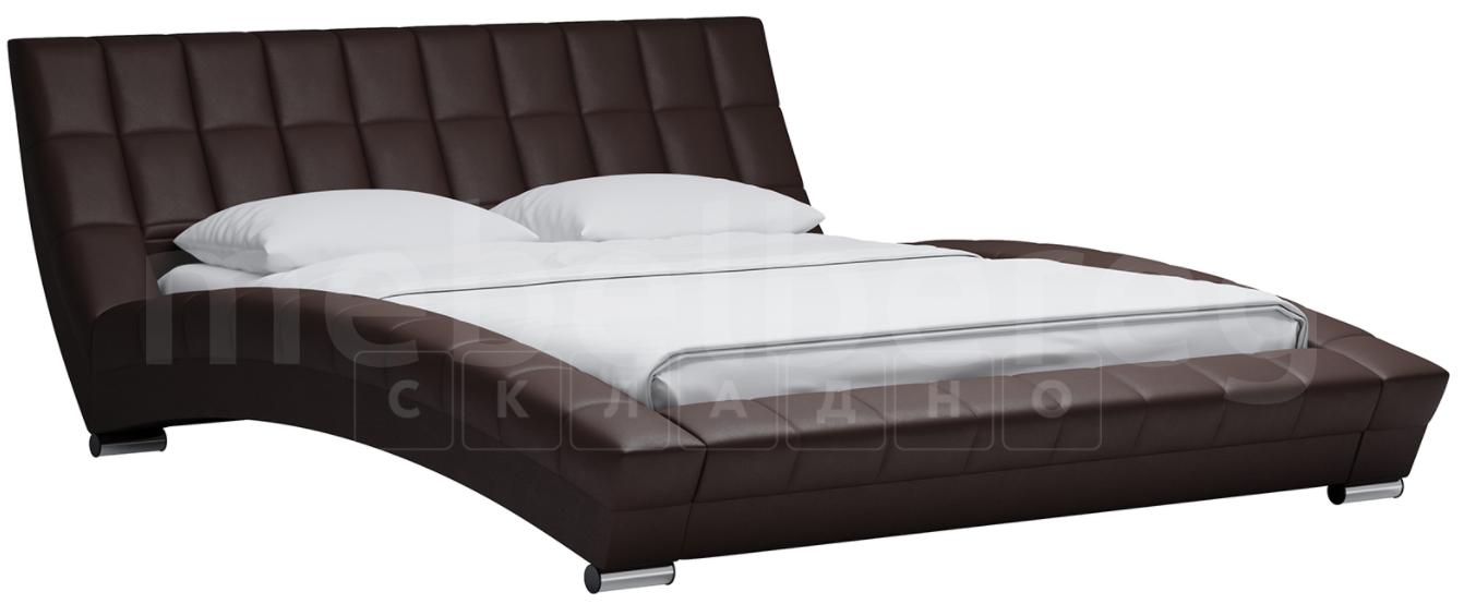 Мягкая кровать Оливия 160 см экокожа шоколад