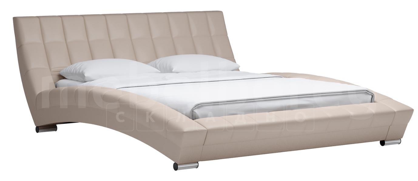 Мягкая кровать Оливия 160 см экокожа бежевы